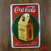 Drink coke! Six bottles in the new handy container! vintage metal sign retro tin signs antique imitation iron plate painting