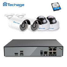 Techage H.265 4CH Home Security POE NVR CCTV System Kit 4.0MP Vandalproof Indoor Outdoor Dome POE IP Camera HD Surveillance Set