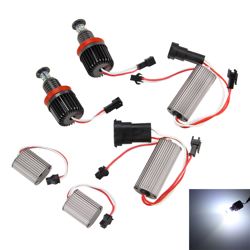 2x 40W H8 LED 6000K White Chips HID Bulb Halo Ring Angel Eyes light for BMW E90 E92 E60 E70 X5 X6 New bmw angel eyes upgrade<br>