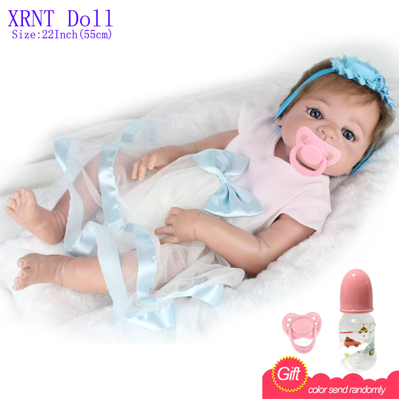 22 Inch Reborn Babies Full Vinyl Realistic Toys For Girls White Dress Alive Baby Doll For Playmate<br><br>Aliexpress