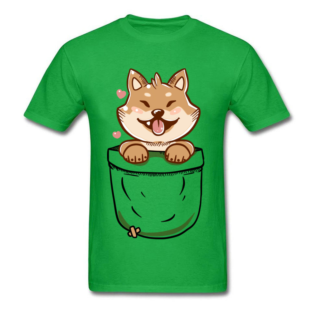 Group Discount Casual Tops T Shirt Crewneck Summer 100% Coon Short Sleeve T Shirt for Men Birthday Tee-Shirts Shiba Inu in your Pocket Tee green