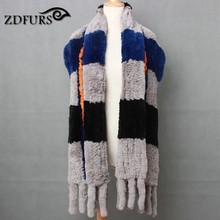 ZDFURS *Europe hit big color fall and winter color collar combo color warm shawl 100% imported Rex rabbit scarves female special