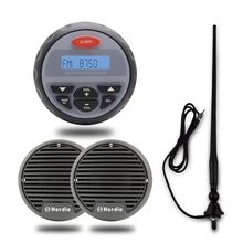 "Marine Stereo 4""Gauge Boat Radio FM AM Bluetooth Audio Motorcycle USB MP3 Player 3"" Waterproof Marine Speaker With Black Antenna(China)"