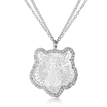 1PC European Ethnic Jewelry Rhinestone Tiger Pendant Necklaces for Women Animal Long Necklaces Pendants Chain N662