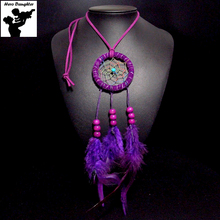 65cm Long Indan Feather Dream Catcher Necklace Handmade Wooden Beads Big Genuine Leather Rope Chain Crochet Pendant Jewelry New
