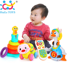 Baby Toys for 18 M+ Kids Rainbow Stacking Duck & Dancing Goose & Worm Press function with music & Electric Click & Count Remote(China)