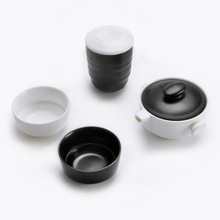 Quick Cup Black and White Office Tea Sets Ru Kiln Ceramic Porcelain Tea Cup Kung Fu Tea Set Teaware with Tea Cans Christmas Gift