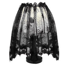 1 PC Halloween Plastic Black Knitted Curtain Lamp Cover Black Spider bat lace halloween decoraci n Living Room Wall Sticker(China)