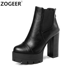 ZOGEER New 2017 Sexy Women Boots Fashion Platform punk Square high heels Black Ankle boots For Woman Brand Design Ladies Shoes(China)
