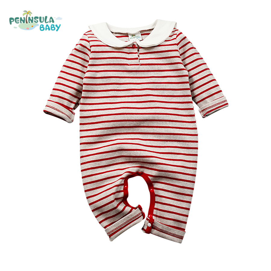 Newborn Baby Clothes Striped Sailor Collar Back Cat Spring Baby Rompers Long Sleeve One-pieces Jumpsuit Baby Boy Girl Clothing<br><br>Aliexpress