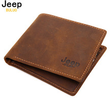 JEEP BULUO Luxury Brand Cow Genuine Leather Men Wallets 100% Top Quality Short Male Purse Carteira Masculina Drop shipping W003