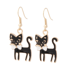New Charm Black/white Bowknot Animal Cat Earrings For Women