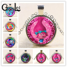 GonLeI New Arrived DreamWorks 60CM Silver/Bronze Color Trolls Glass Pendant Chain Necklace for Kid Dress Up Action Figures Toys(China)