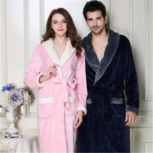 Autumn Winter New Flannel Robes Lovers Sleepwear Women Men Warm Dressing Gown Bathrobe Coral Fleece Robe Femme Camison Mujer(China)