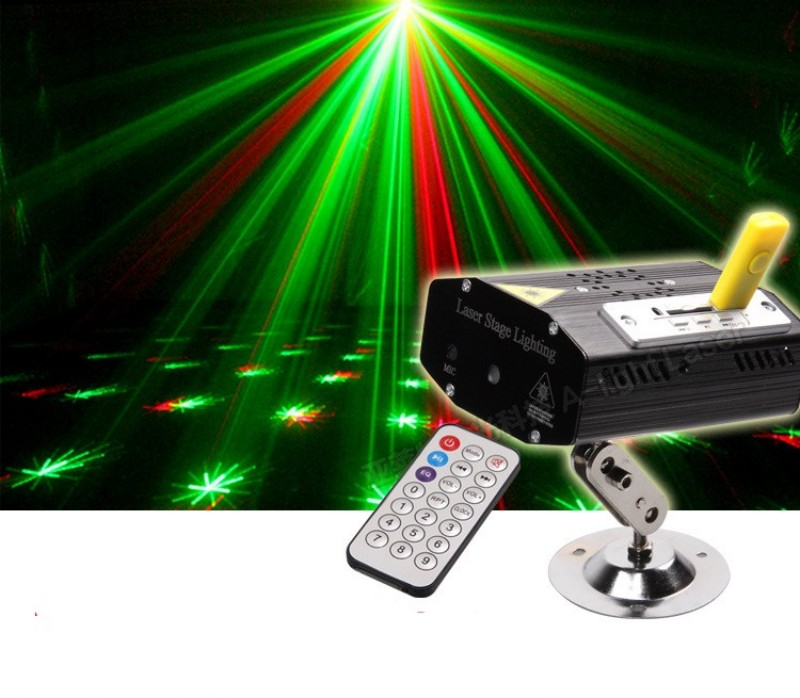 Remote Control MP3 Mini LED Stage Light Lamp R&amp;G Laser Projector Stage Lighting Sound Control DJ Disco Party KTV Light<br><br>Aliexpress