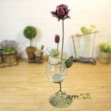 Romantic Metal Iron Glass Candle Holder Rose Tea Light Holder Creative Candle Stand Dinner Props Home Wedding Party Decor Gifts(China)