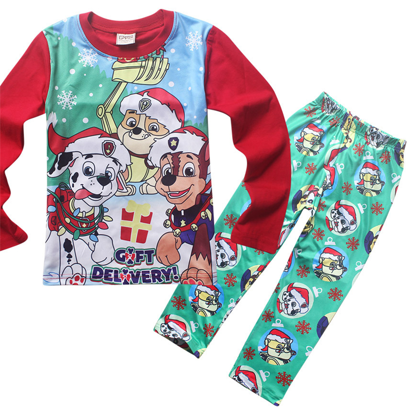 clothing set for girls boys autumn winter for kids clothes suit Christmas cartoon dogs pattern pajamas Santa Claus children<br><br>Aliexpress