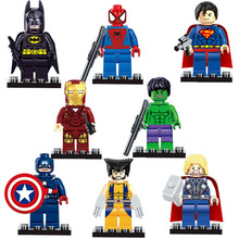 8pcs/lot The Avengers Justice League Super Hero Baby Hulk Captain America Superman Batman Thor Lron Man Action doll Figures Toys