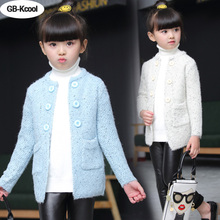 GB-Kcool New 2017 Girls Sweater Children's Cardigan Jackets Wild Spring Autumn Round Neck Long Sleeve Knit Coats for Students(China)