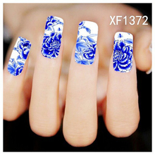 1sheet Nail Art Water Transfer Stciker Decals Blue China Flowers Stickers Decorations Watermark Tools for Polish XF1372