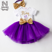 Baby Girl First 1st Birthday Outfits Newborn Bebes Clothing Sets Suits White Romper Tutu Skirt Headband Toddler Girl Clothes Set