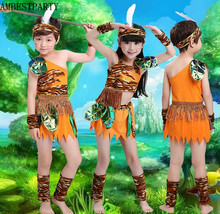 Hot 2017 Halloween Costume African Indian Leopard Clothing Hunter Cosplay Clothing Kids Stage Performance Clothes AMBESTPARTY