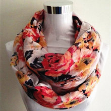 New Women Ladies Fashion Viscose Cotton big flowers scarf Rose Floral Printed Cotton Voile infinity Scarf(China)