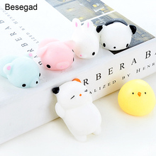 Besegad 6PCS Kawaii Cute Soft Cat Panda Rabbit Chick Squishy Squeeze Cartoon Animal Healing Fun Toy for Relieves Stress Anxiety(China)