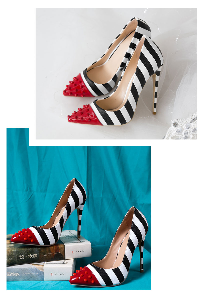 WETKISS Studded High Heels 12cm Stilettos Women Pointed Toe Rivet Ladies Party Pumps Zebra Shallow Colorful Shoes Woman 34-45 14