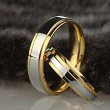 Stainless steel Wedding Ring Silver Gold Color Simple Design Couple Alliance Ring 4mm 6mm Width Band Ring for Women and Men(China)