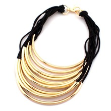 Popular Choker Jewelry Many Rubber Band Pass Bright Metal Pipe Statement Necklace For Women Dress Fashion Accessories #1672(China)
