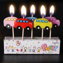 NEW!  5pcs/set Lovely Bus Fruit Birthday Candle Kid's Gift Cartoon Craft Cute Party Supplies Cake Topper Candles Hot Sale