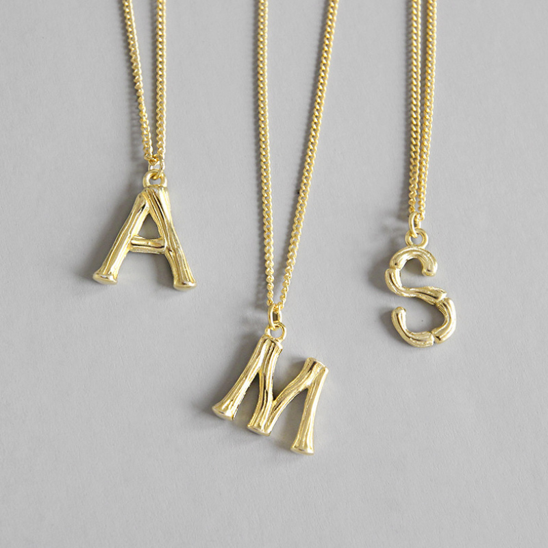 BIG J.W Simple A Letter 925 Sterling Silver Stackable Pendant Necklace Gold Color Adjustable Link Chain Necklace Fashion Jewelry