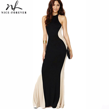 Nice-forever Robe Contrast Colorblock Patchwork Long Maxi Dress Women Summer Stylish Sleeveless Evening Party Dress 639(China)