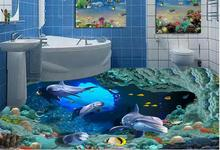 3d stereoscopic wallpaper custom vinyl flooring 3d photo wallpaper Underwater World Dolphins coral 3d flooring wallpaper