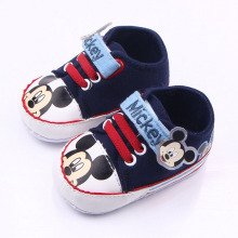 Canvas mickey mouse pattern shoelace toddler shoes boy and girl learning first walking shoes soft bottom xz90