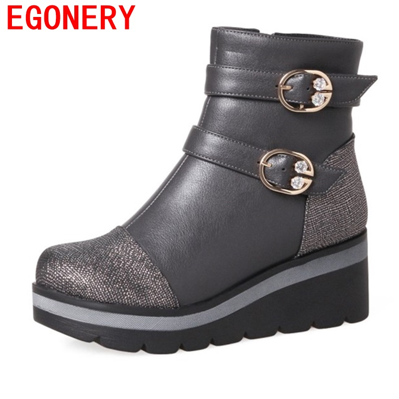 egonery ankle boots woman platform wedges high heel shoes round toe buckle decoration light boots outside walking shoes winter<br>