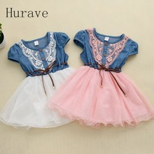 Hurave 2017 new fashion Girls baby Lace Belt tutu cowboy dress children Patchwork mesh dresses for girl