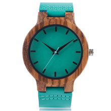 Spring Fecoration Wood Watches Handmade Green Genuine Leather Band Strap Men Women WristWatch Bamboo Sport Wooden Bangle Quartz(China)