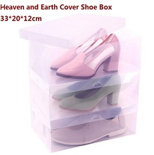 8pcs/lot Big Size Heaven and Earth Cover Storage Box House Organizer Transparent Clear Plastic Shoe Box Stackable Foldable 33*20(China)