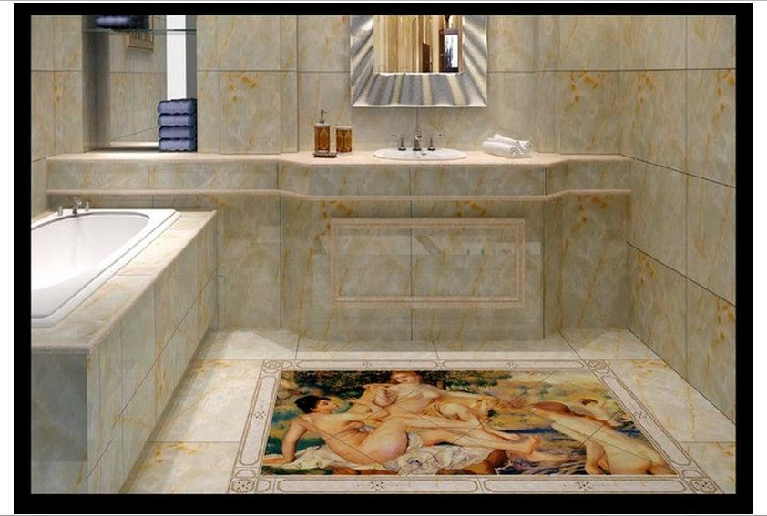 3D wallpaper custom mural beauty European oil painting 3 d floor bathroom floor figure paintings pvc wallpaper room decoration<br>