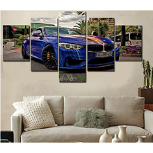 Home Wall Art Decor Frame Pictures Art HD Modern 5 Panel Scenery BMW Painting Printed On Canvas Blue Sports Car Poster PENGDA(China)
