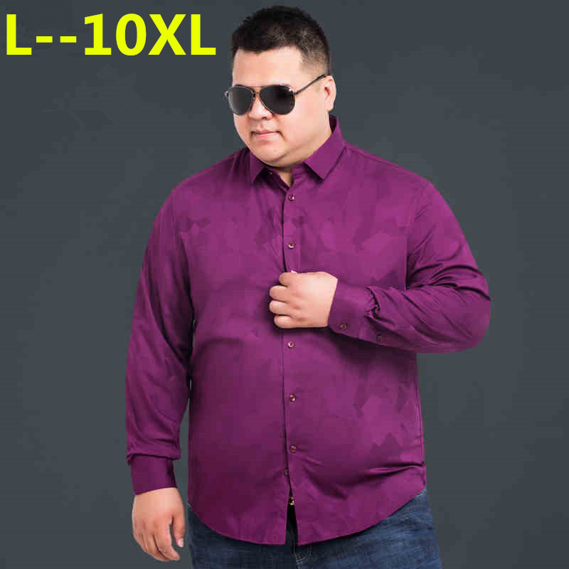 Plus 8XL 6XL 5XL 4XL Men Shirt Brand 2018 Male High Quality Long Sleeve Shirts Casual Hit Color Slim Fit RED Man Dress Shirts