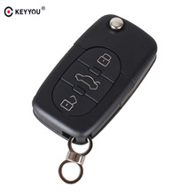 KEYYOU 3 Buttons Folding Flip Remote Key Shell & Blade HAA For Audi A2 A3 A4 A6 A8 TT CR2032 Fob Blank Case Free Shipping