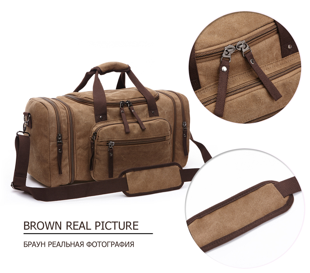 duffle bag in brown
