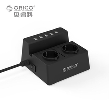 ORICO ODC Updated Office Home 2 AC EU Power Strip with 5 Ports USB Charger for iPhone/iPad Home Appliances-Black/White