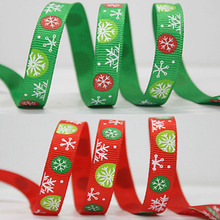 HAOCHU 1cm 25Yard Ribbon Christmas Decor Snowflake Packaging Bag Cake Box Wrap Gift Tree Streamer Xmas Wedding Party Supplies(China)