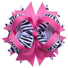 "5"" Wholesale Girl Hair Bows Hot Pink Zebra Layered Great Boutique Spike Hair Bows Without Clips Headwear Headband 7 Color 12pcs(China)"