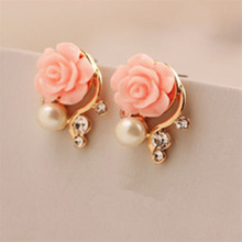Earrings New Women Korean OL style pink crystal pearl asymmetric double-sided stud earrings