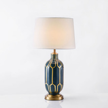 New Chinese Table Lamps grid idyllic blue hand painted porcelain American soft model home decoration Moderno desk lamp LU818380(China)